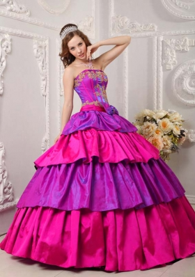 Multi-color Strapless Taffeta Appliques and Ruffled Layers Sweet 16 Dresses