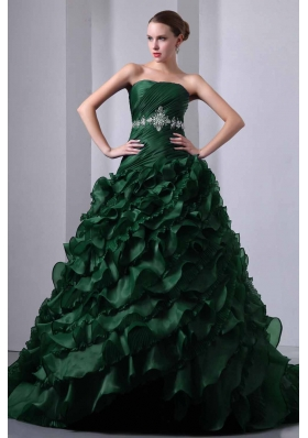 Princess Strapless Brush Train Quinceanea Dress with Beading and Ruffles
