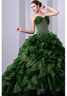 Princess Sweetheart Brush Train Quinceanea Dress with Beading Ruffles