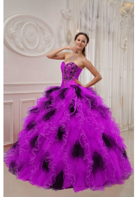 Purple and Black Sweetheart Orangza Beading and Ruffles Quinceanera Gown