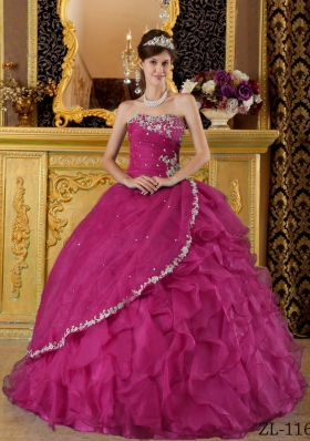 Strapless Fuchsia Organza Appliques and Ruffles Sweet 16 Dresses