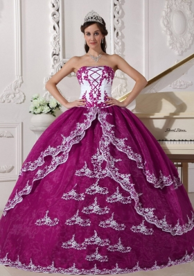 Strapless Organza Lace Appliques Quinceanera Gown in Fuchsia and White