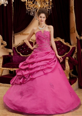 Strapless Taffeta Appliques with Beading Quinceanera Gownin Fuchsia