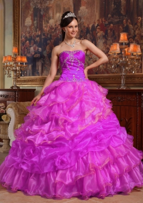 Sweetheart Appliques and Ruffled Layers Organza Sweet Sixteen Dresses