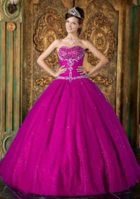Sweetheart Fuchsia Beading and Appliques Tulle Sweet 15 Dresses