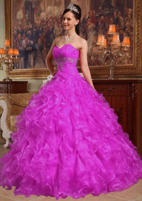 Sweetheart Fuchsia Organza Appliques and Ruffles Dresses For a Quince