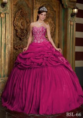 Sweetheart Fuchsia Taffeta Beading and Appliques Quinceanera Dress
