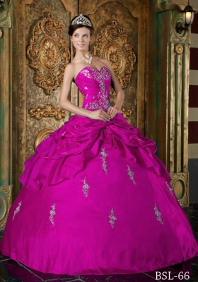 Sweetheart Taffeta Appliques and Pick-ups Quinceanera Gown in Fuchsia
