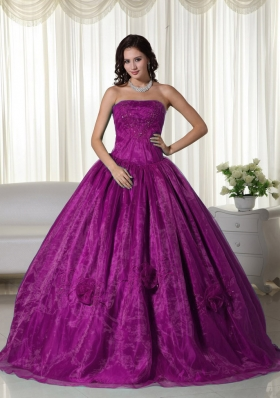 2014 Cheap Strapless Organza Beading Quinceanera Dress in Fuchsia