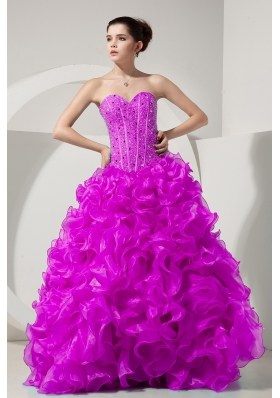 A-line / Princess Sweetheart Organza Sweet Sixteen Dresses with Beading and Ruffles