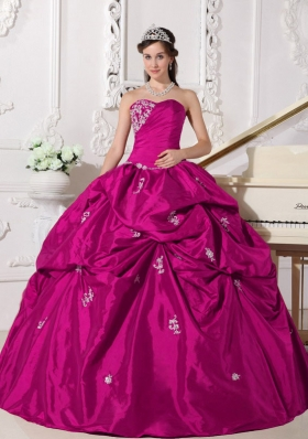 Appliques and Pick-ups Sweetheart Fuchsia Taffeta Sweet Sixteen Dresses