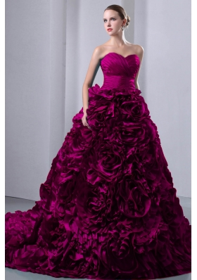 Fuchsia A-Line / Princess Sweetheart Court Train Ruffles Quinceanea Dress