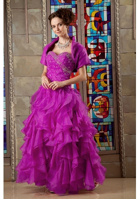 Fuchsia A-line Sweetheart Beaded Decorate Bodice Quinceanea Dress
