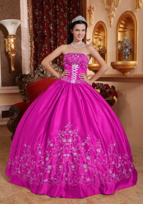 Fuchsia Strapless Embroidery All Over Skirt Quinceanera Gown