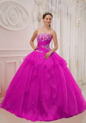 Fuchsia Strapless Organza Appliques and Beading Sweet 16 Dresses