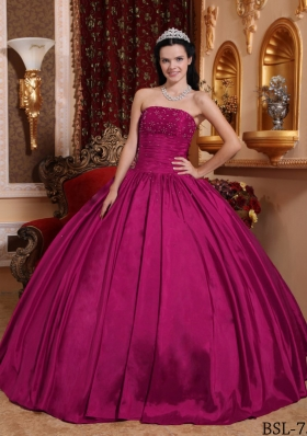Fuchsia Strapless Taffeta Beaded Decorate Bust Quinceanera Dress for 2014
