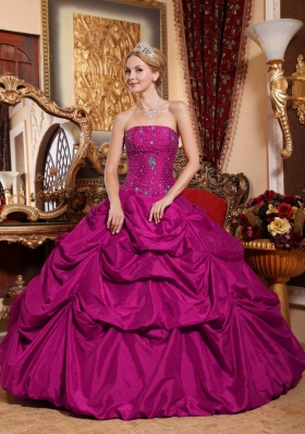 Fuchsia Strapless Taffeta Quinceanera Gown with Beading and Pick-ups