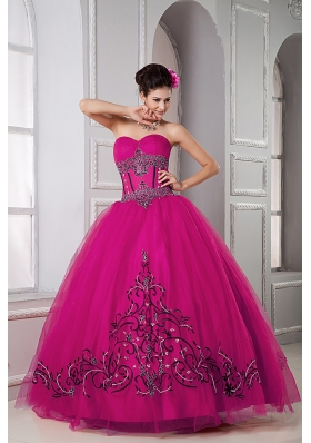 Fuchsia Sweetheart Tulle Quinceanera Dresss with Embroidery All Over Skirt