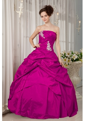 Strapless Fuchsia Taffeta Appliques and Pick-ups Quinceanera Dress