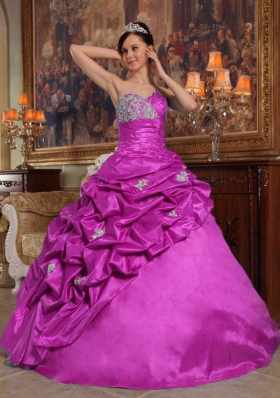 Sweetheart Appliques and Pick-ups Taffeta Quinceanera Dress in Fuchsia