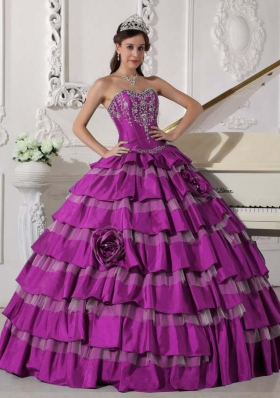 Sweetheart Fuchsia Quinceanera Dress with Appliques and Hand Made Flowers