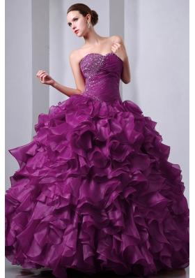 Sweetheart Organza Beading and Ruffles Quinceanea Dress for 2014 Fashion