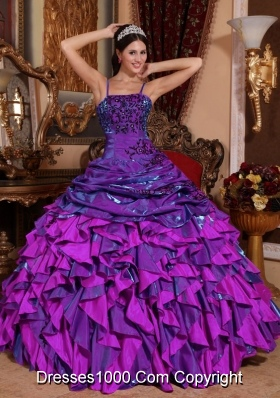 2014 New Trend Spaghetti Straps Quinceanera Dress with Black Appliques