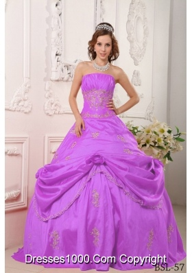 A-line Strapless Pick-ups and Appliques Quinceanera Dress