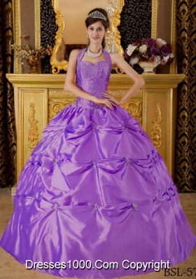 Ball Gown Halter Appliques Sweet Sixteen Quinceanera Dresses with Pick-ups
