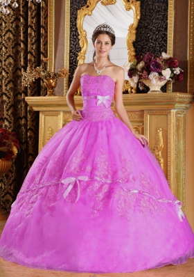 Ball Gown Strapless Appliques Organza Sweet Sixteen Dresses