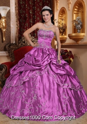 Ball Gown Strapless Embroidery with Beading Dresses For Quinceaneras