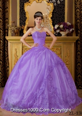 Ball Gown Sweetheart Appliques Organza Dresses For a Quinceanera