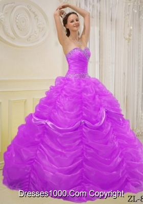 Ball Gown Sweetheart Beading Dresses For a Quinceanera with Ruffled Layers