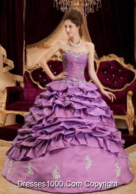 Ball Gown Sweetheart Quinceanera Dress with Pick-ups and Appliques