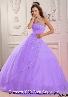 Classical A-line Sweetheart Tulle Appliques Quinceanera Dress