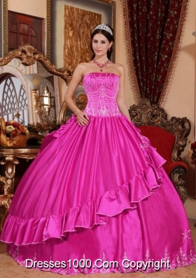 Exclusive Strapless Taffeta Full Length Quinceanera Dress with Appliques