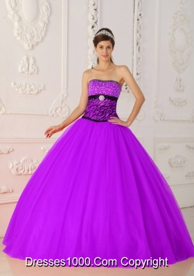 Fuchsia A-line / Princess Strapless Tulle and Zebra Beading Quinceanera Dress