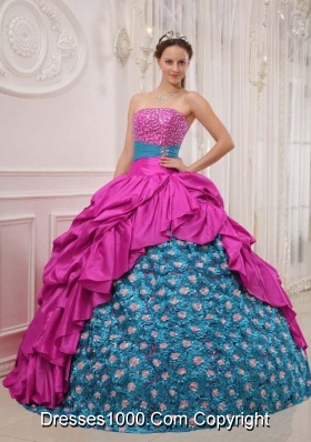 Fuchsia and Blue Strapless Beaded Decorate Bust Sweet 16 Dresses