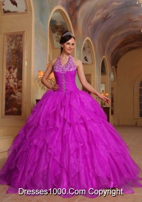 Fuchsia Halter Organza Quinceanera Dress with Appliques and Beading