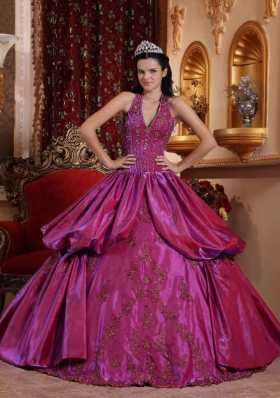 Fuchsia Halter Top Neck Taffeta Appliques Decorate Sweet Sixteen Dresses