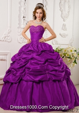 Fuchsia Sweetheart Tafftea Appliques and Pick-ups Quinceanera Gown