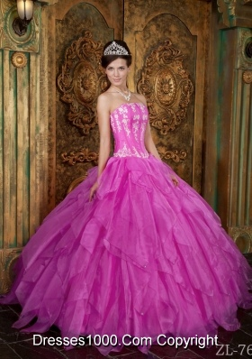 Gorgeous Ball Gown Strapless Floor-length Appliques Organza Hot Pink Quinceanera Dress