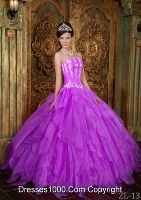 Gorgeous Strapless Appliques Organza Purple Quinceanera Dress