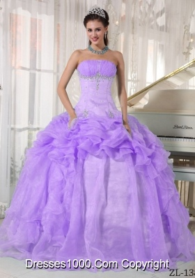 Lavender Ball Gown Strapless Beading Quinceanera Gowns Dresses