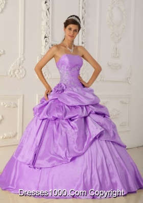 Princess Strapless Beading Lilac Quinceanera Dresses with Beading and Pick-ups