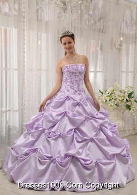Princess Strapless Taffeta Lilac Sweet Sixteen Dresses with  Appliques