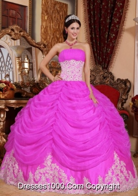 Strapless Beading Sweet 16 Dresses with Appliques and Pick-ups