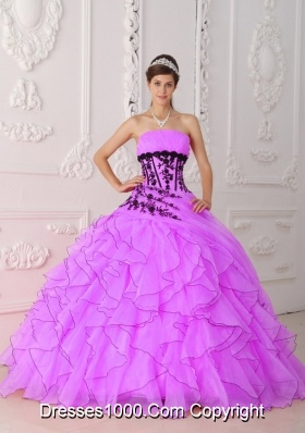 Sweet Ball Gown Strapless Appliques and Ruffles Dresses For a Quinceanera