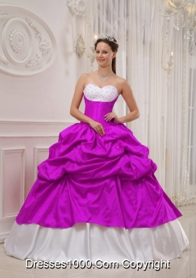 Sweetheart Beading and Pick-ups Quinceanera Dress in Fuchsia and White