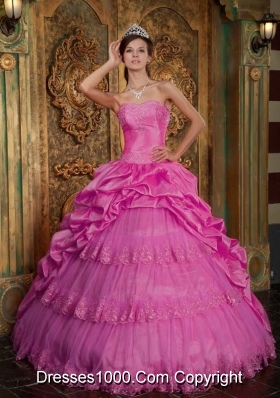 Sweetheart Taffeta and Tulle Sweet Sixteen Dresses with Lace Appliques